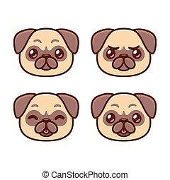 Cute cartoon pug faces set