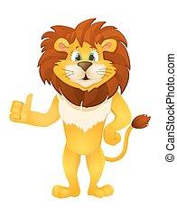 cute cartoon standing lion. vector illustration