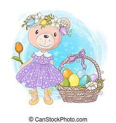 Cute cartoon teddy bear girl in a dress with a basket of Easter multi-colored eggs and spring flowers