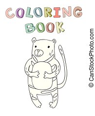 Cute cartoon tiger character, contour vector illustration for coloring book in simple style.