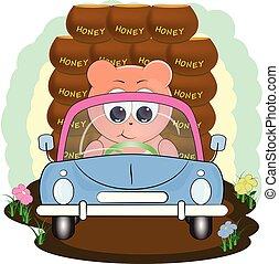 cute bear in car with honey. cartoon vector illustration.
