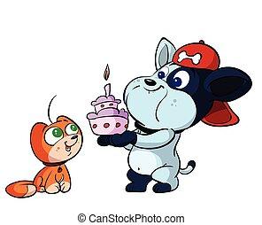 cute cat and dog birthday