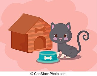 cute cat baby animal with house