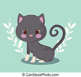 cute cat baby animal with leafs