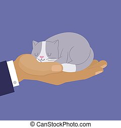 Cute cat, cartoon kitten dreaming on human hand vector illustration. Grey and white kitty on mans hand. Home pets for sale shop banner.