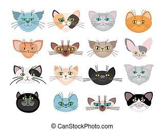 Cute cat faces vector illustration