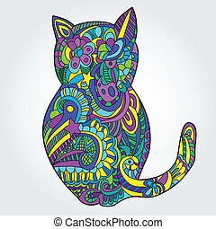 cute cat illustration - doodle style vector picture