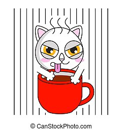 Cute cat with cup of coffee sticker