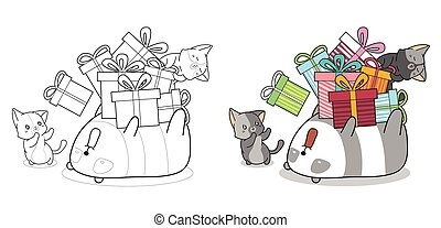 Cute cats and panda cartoon coloring page