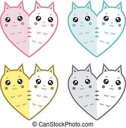 Cute cats-hearts