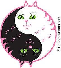 Cute cats yin yang