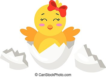 Cute chick coming out from broken egg