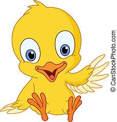 Cute chick waving