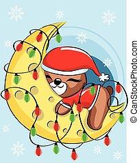 Cute Christmas Teddy Bear is sleeping on the moon with lamp. Vector illustration of a cute baby bear.