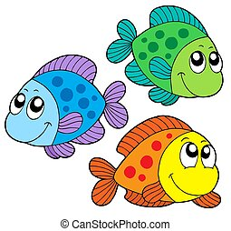 Cute color fishes - isolated illustration.