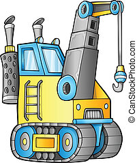 Cute Construction Crane Vector