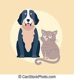 Cute Dog and Cat Cartoon Flat Vector Icon