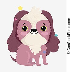 cute dog domestic cartoon animal, pets