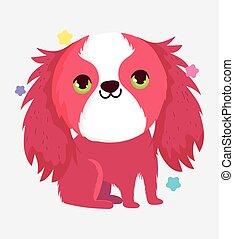 cute dog friendly domestic cartoon animal, pets
