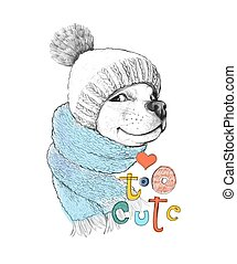 Cute dog in a hat and scarf. Too cute phrase. Hand-drawn illustration of a pencil and watercolor technique. Design for poster, kids T-shirt, print, cards, banners. Vector illustration.