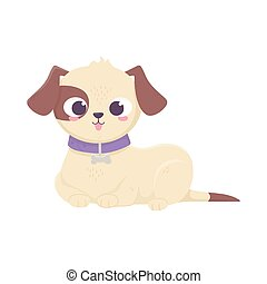 cute dog lying domestic cartoon animal, pets