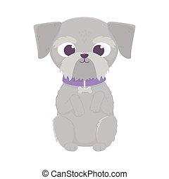 cute dog sitting domestic cartoon animal, pets