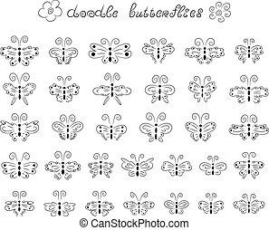 Cute doodle butterflies