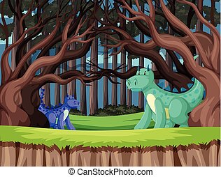 Cute dragons in the woods