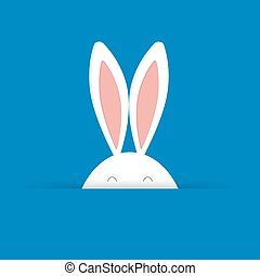 Cute Easter bunny in blue background vector illustration.