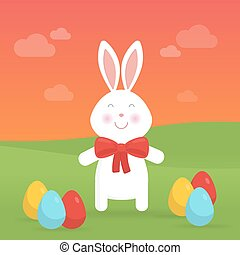 Cute Easter bunny in nature vector illustration.