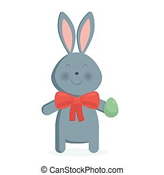 Cute Easter bunny isolated vector illustration.