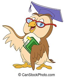 educated cartoon owl