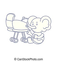 cute elephant baby animal with baby cart