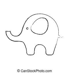 cute elephant baby icon