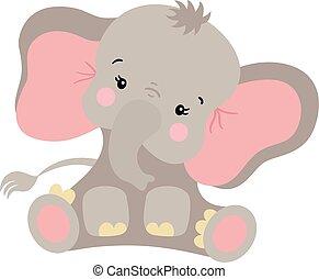 Cute elephant sitting isolated on white