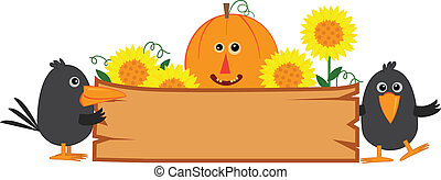 Cute fall banner with pumpkin, sunflowers and crows. Eps10
