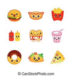 Cute fast-food icons