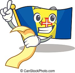 Cute flag madeira cartoon character with menu ready to serve