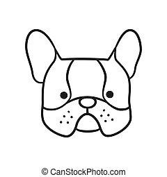 Cute french bulldog face. Dog head icon. Hand drawn isolated vector illustration