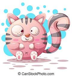 Cute, funny - cartoon cat characters.