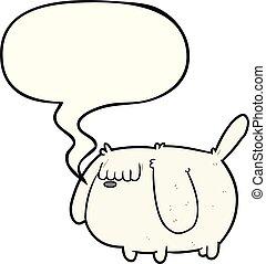cute funny cartoon dog and speech bubble