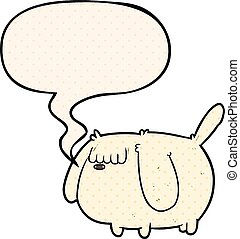 cute funny cartoon dog and speech bubble in comic book style