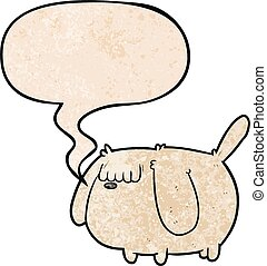 cute funny cartoon dog and speech bubble in retro texture style