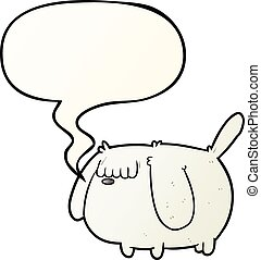 cute funny cartoon dog and speech bubble in smooth gradient style