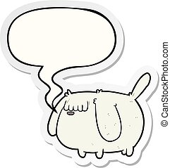 cute funny cartoon dog and speech bubble sticker
