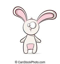 Cute, funny cartoon rabbit.