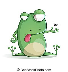 Cute, funny frog cartoon