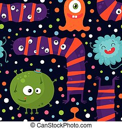 Cute funny seamless pattern with bright monsters on dark background