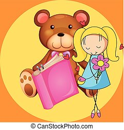 Cute girl and teddy bear