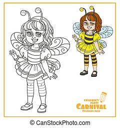 Cute girl in bee costume color and outlined for coloring page